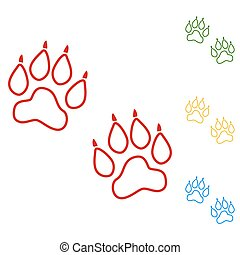 Animal Tracks. Vector. Set of line icons