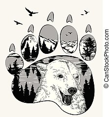 Animal trail. Bear in the wilderness, double exposure for...
