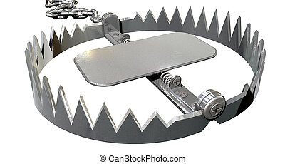 Animal Trap Open Close - A metal animal trap that is open...