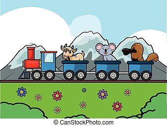 animal traveling train at Park