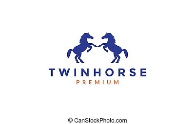 animal twin horse jumping silhouette logo vector icon ...