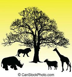 animal under the tree vector