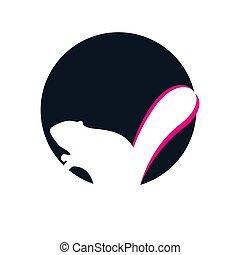 animal, vecteur, style, logo, négatif, signe, conception, symbole, élément, mignon, graphique, castor