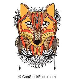 animal vector portrait - fox