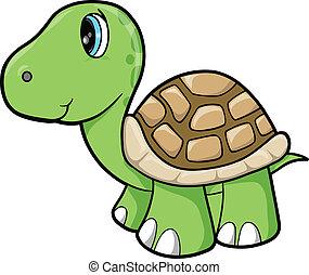 animal, vector, tortuga, lindo