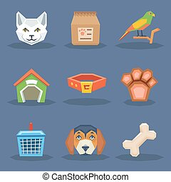 Animal veterynary pet treatment icons set polygonal flat design vector illustration