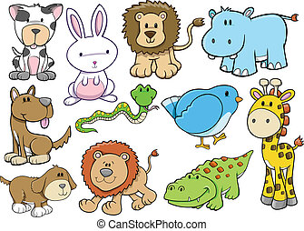 animal, vie sauvage, safari, vecteur, ensemble