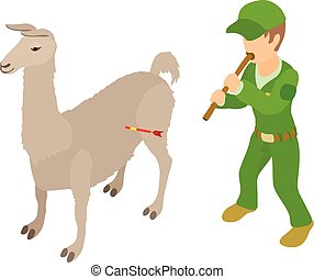 Animal welfare icon, isometric style