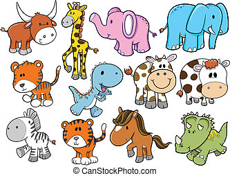 Animal Wildlife Safari Vector Set