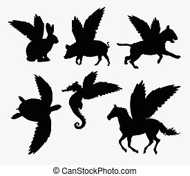 Animal with wings silhouette