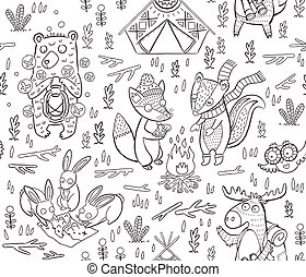 Animal Woodland Camping. Vector sketch illustration