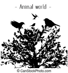Animal World Birds Tree Background Vector Image