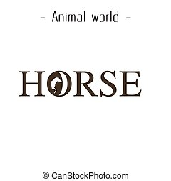 Animal World Horse Text Background Vector Image