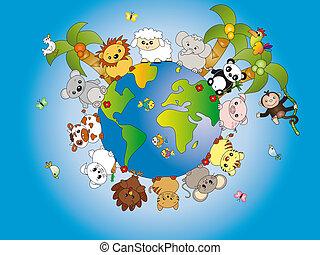Illustration of animal world cartoon