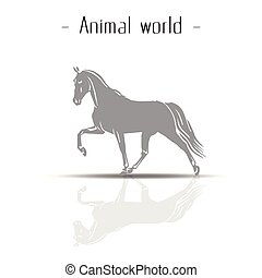 Animal World Reflection Of Horse Vector Image