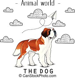 Animal World The Dog St. Bernard Background Vector Image
