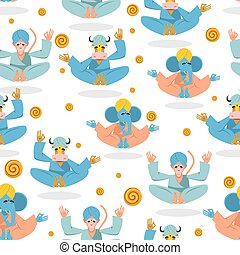 Animal Yoga seamless pattern. Monkey yoga. Animals do yoga....