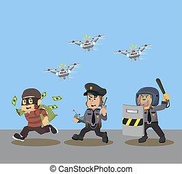 animal, zangão, dinheiro, caça polícia, ladrões