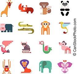 animal zoo, icônes