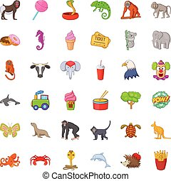 Animal zoo icons set, cartoon style