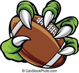 animale, artiglio, mostro, presa a terra, palla football americana
