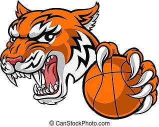 animale, baketball, sport, tiger, giocatore, mascotte