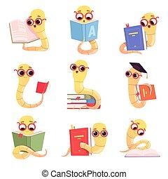 animale, bambino, characters., vettore, collezione, topo di biblioteca, libri, vermi, poco, bambini, biblioteca, scuola, lettura