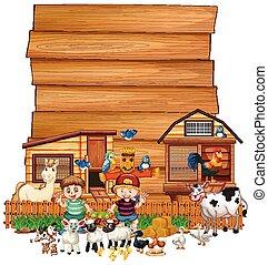 animale, fattoria, segno, set, legno, vuoto, isolato