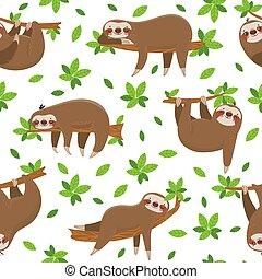 animale, lianas, bradipo, vettore, giungla, pigro, carino, ...