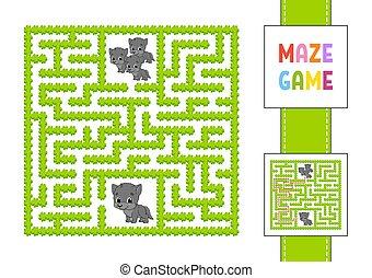 animale, maze., puzzle, gioco, path., labirinto, vettore, wolf., divertente, enigma, illustration., children., quadrato, destra, character., colorare, trovare, answer., kids.