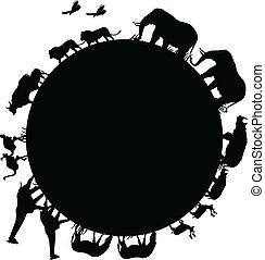 animale, mondo, silhouette