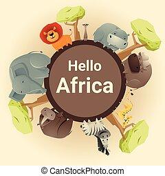animale selvaggio, fondo, africano