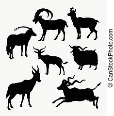 animale, silhouette, goat