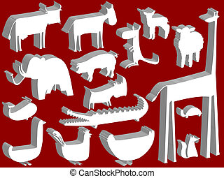 animale, statuette, sopra, sfondo rosso