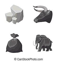 animale, storia, e, altro, monocromatico, icona, in, cartone animato, style.mine, pulizia, icone, in, set, collection.