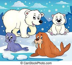animales, ártico, 1, tema, vario, imagen