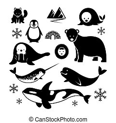 animales, ártico, silueta, conjunto