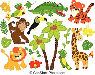 animales, animals., vector, selva, safari, caricatura