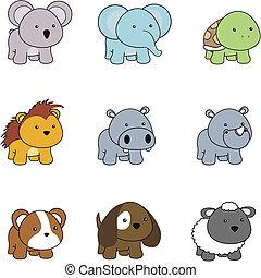 animales, bebé, caricatura, set001