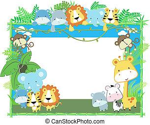 animales bebé, marco, vector