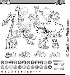 animales, calculador, actividad