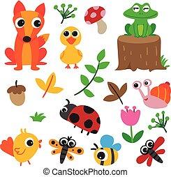 animales, carácter, colección, diseño