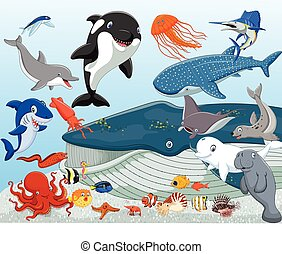animales, caricatura, mar