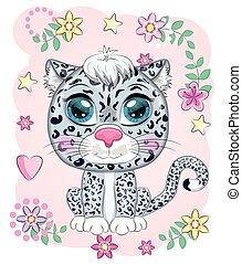 animales, caricatura, style., carácter, lindo, leopardo, salvaje, nieve, infantil, expresivo, eyes.