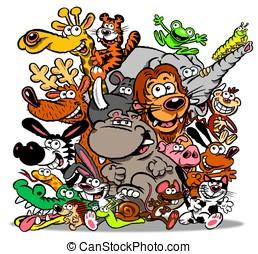 animales, cartoon.wbg.
