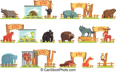 animales, cobertizo, conjunto, zoo, atrás, salvaje