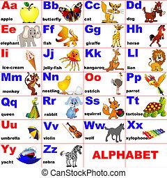 animales, colocado, en, carta, de, el, alfabeto