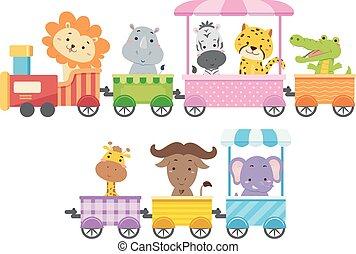 animales, colorido, zoo, tren, ilustración
