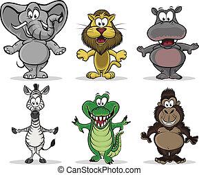 animales, de, áfrica
