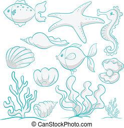 animales de mar, y, plantas